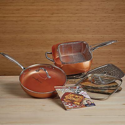 "* New Copper Chef Pro 7pc Cookware Set 11"" Square & 12"" Round Fry Pan w/Lids NIB"