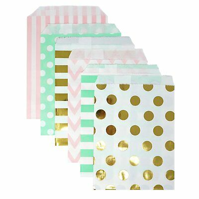 48 Polka Dot and Stripes Pink Mint Gold Food Candy Treat Party Favor Bags 5x7  - Polka Dot Party Bags