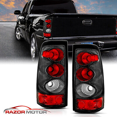 2003 2004 2005 2006 Chevy Silverado 1500/2500/3500 Carbon Fiber Tail Lights Pair