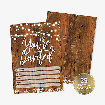 Bridal Party Invitations (25 Rustic You're Invited Fill-in Party Invitations and Envelopes Bridal)