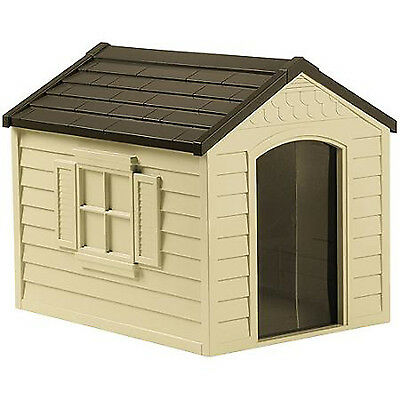 Large Plastic Dog House Outdoor Deluxe Pet Shelter Durable All Weather Kennel