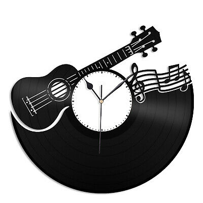 Ukulele Vinyl Wall Clock Unique Design Music Lovers Gift Home Room Decoration for sale  Shipping to Canada