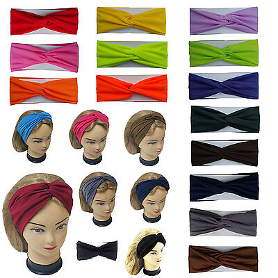 Twisted Hair Wrap Headband Stretchable Turban Yoga Hairband Fashion Solid Color  - Adult Headbands