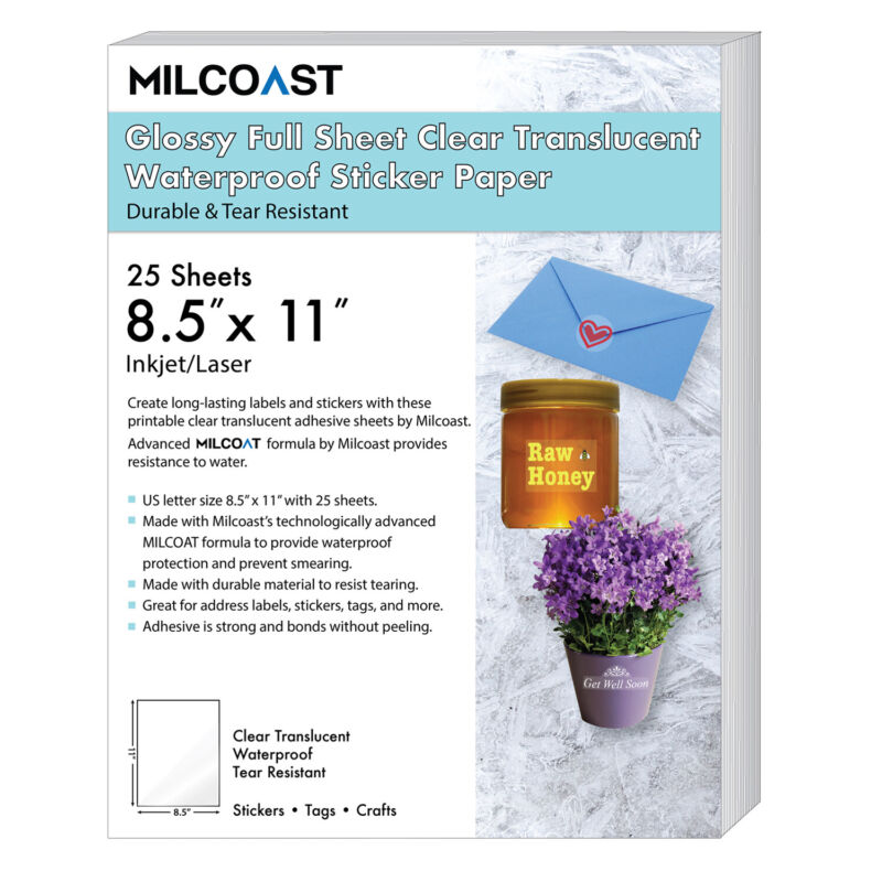 "Milcoast Glossy Full Sheet 8.5"" x 11"" Clear Translucent Waterproof Adhesive"