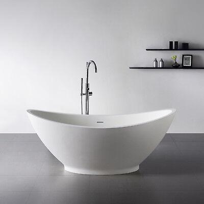 Freistehende Badewanne aus Mineralguß Solid Stone Farbe weiß matt 179x89cm 11891 (Stone Freistehende Badewanne)