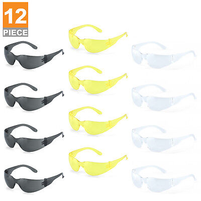 Safety Glasses 12pc Set | Clear Amber Smoked Lens Indoor Outdoor Work ANSI Z87.1