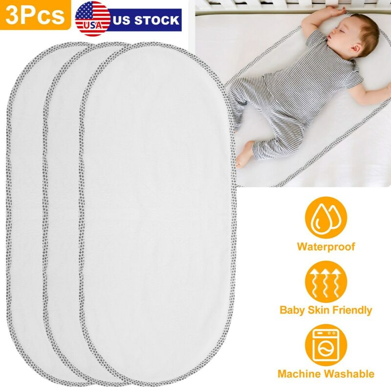 3Pcs Waterproof Changing Pad Liner Cotton Surface Changing Pad Washable for Baby