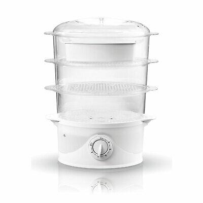 Vaporera Eléctrica Cocina al Vapor, sin BPA Temporizador 60 Min., 3 Recipientes