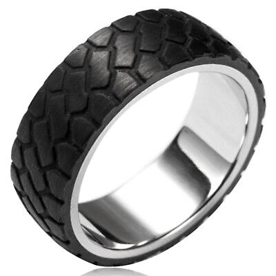 - Stainless Steel Tire Tread Design Forged Black Carbon Fiber Overlay Ring 8MM