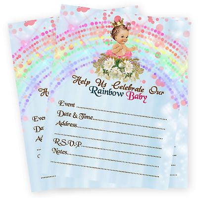 Rainbow Baby Shower Invitations Miracle 1st First Birthday Princess Invites 30