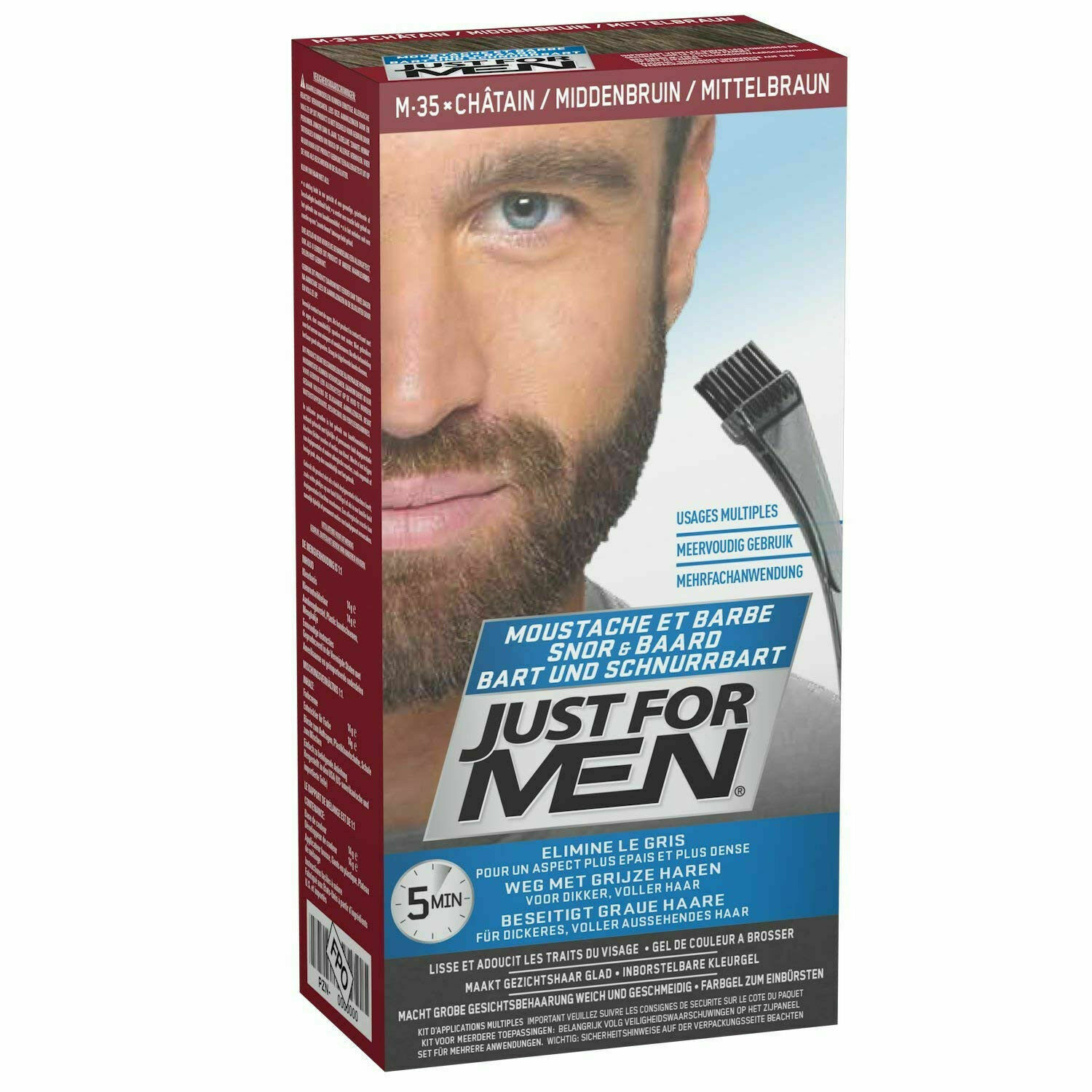 Just For MEN M35 Moustache and Beard Facial Hair Color - Medium Brown