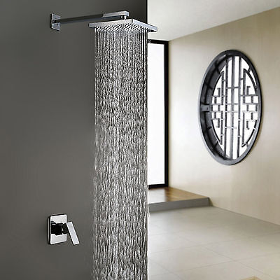 Sprinkle Modern Chrome Wall Mount Bathroom Rain Shower Set Faucet Mixer Tap
