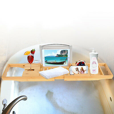 Bamboo Bathtub Rack Tray Bath Tub Caddy Rack Book/Pad/Tablet Holder (Expandable Bathtub Caddy)