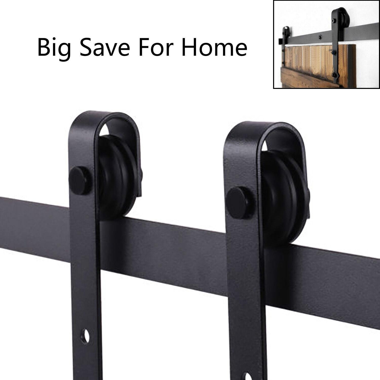 6.6-13.2FT Country Style Sliding Barn Door Hardware Track Rail Kit Door Stopper