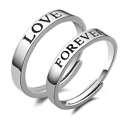 925 Solid Sterling Silver Forever Love Promise Adjustable Open Couple Ring Set Fashion Jewelry