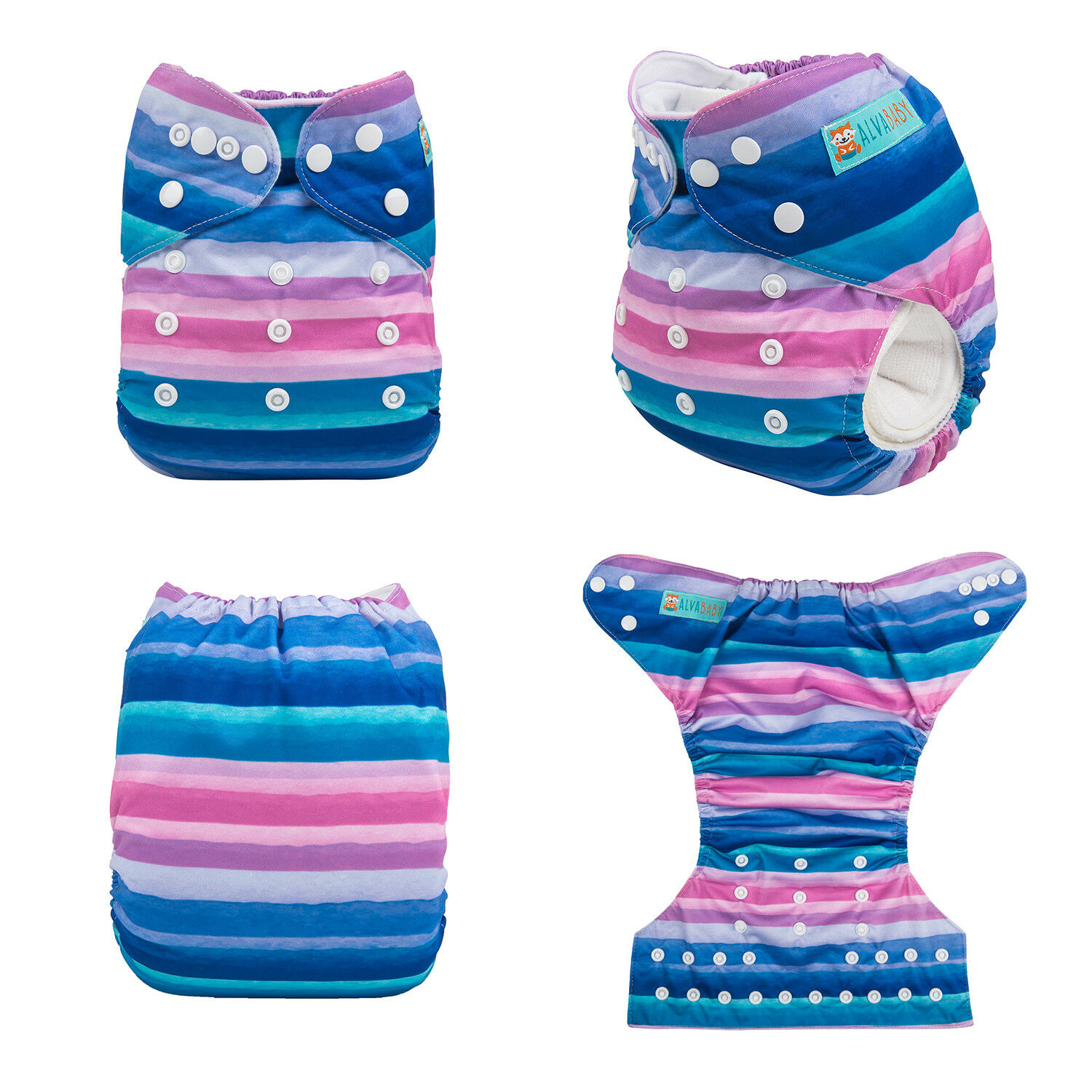 ALVABABY Reusable Baby Cloth Diapers OneSize Washable Pocket Nappies With Insert YD190
