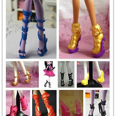 20 Pairs Shoes Lot Random Boots for Monster High Doll Accessories Dolls Clothes