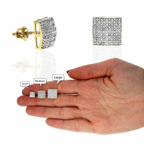 10K Yellow Gold Micro Pave Natural Diamond Square Stud Earrings 0.10Ct -0.40Ct