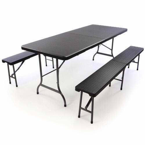 XXL Koffertisch mit 2 Sitzbänke Set Klapptisch Campingtisch Sitzgruppe Aluminium