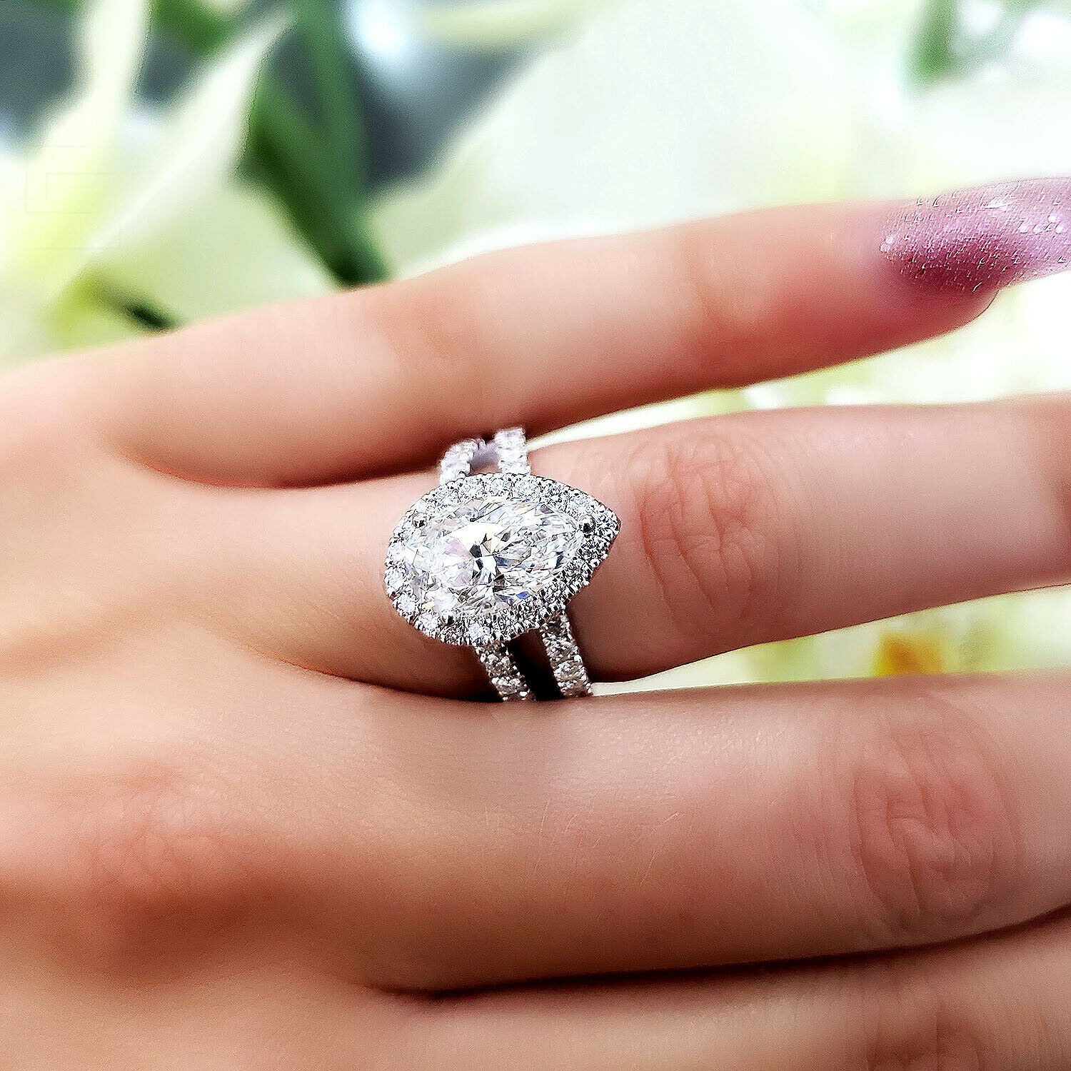 2.76 TCW Natural Pear Halo Split Shank Pave Diamond Engagement Ring H-VS2 GIA