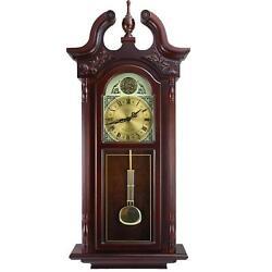 38 Grand Antique Chiming Wall Clock Roman Numerals Cherry Oak Finish Watch