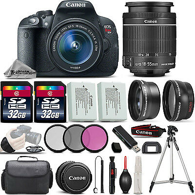 Canon EOS Rebel T5i SLR Camera 700D + 18-55mm IS 3 Lens Kit + 64GB + More!