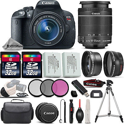Canon EOS Rebel T5i SLR Camera 700D 18-55mm IS 3 Lens Kit 64GB More