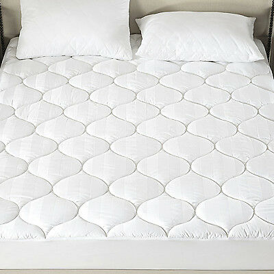 Fitted Mattress Pad Down Alternative Egyptian Cotton Cover Deep Pocket - Egyptian Cotton Mattress Pad