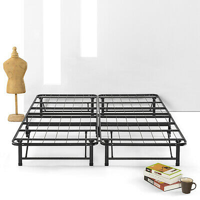 SIMPLE&EASY BiFold Metal bed frame Under bed Storage, Steel Twin Full Queen
