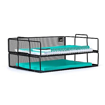 Mindspace 2 Tier Stackable Letter Tray Paper Tray Desk Organizer Black