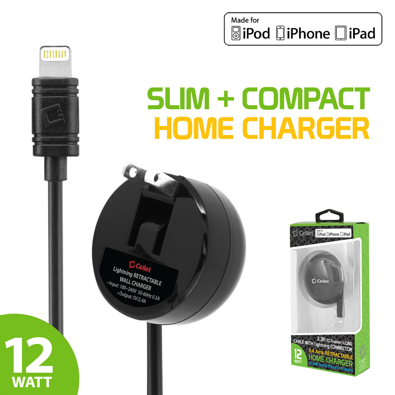 Cellet 2.4A Apple Certified Retractable Home Charger for App