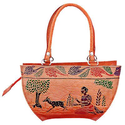 India Bengal Shantiniketan Vintage Handbag Leather Ethnic Bag Brown Embossed
