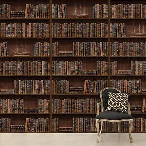 Flexible wall mural sticker vintage library bookshelf d cor room 264 x 290cm - Etagere pliable mural ...