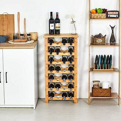 28-bottle Bamboo Wine Standing Rack Countertop Bottle Storage Containers
