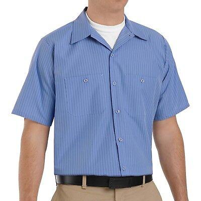 NEW Mens Short Sleeve Blue Navy Striped WORK SHIRT Uniform Red Kap SB22 BS 2ND ()
