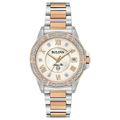 Diamonds Quartz Diamond Watch - Bulova Marine Star Women's Quartz Diamond Accents Two-Tone 32mm Watch 98R234