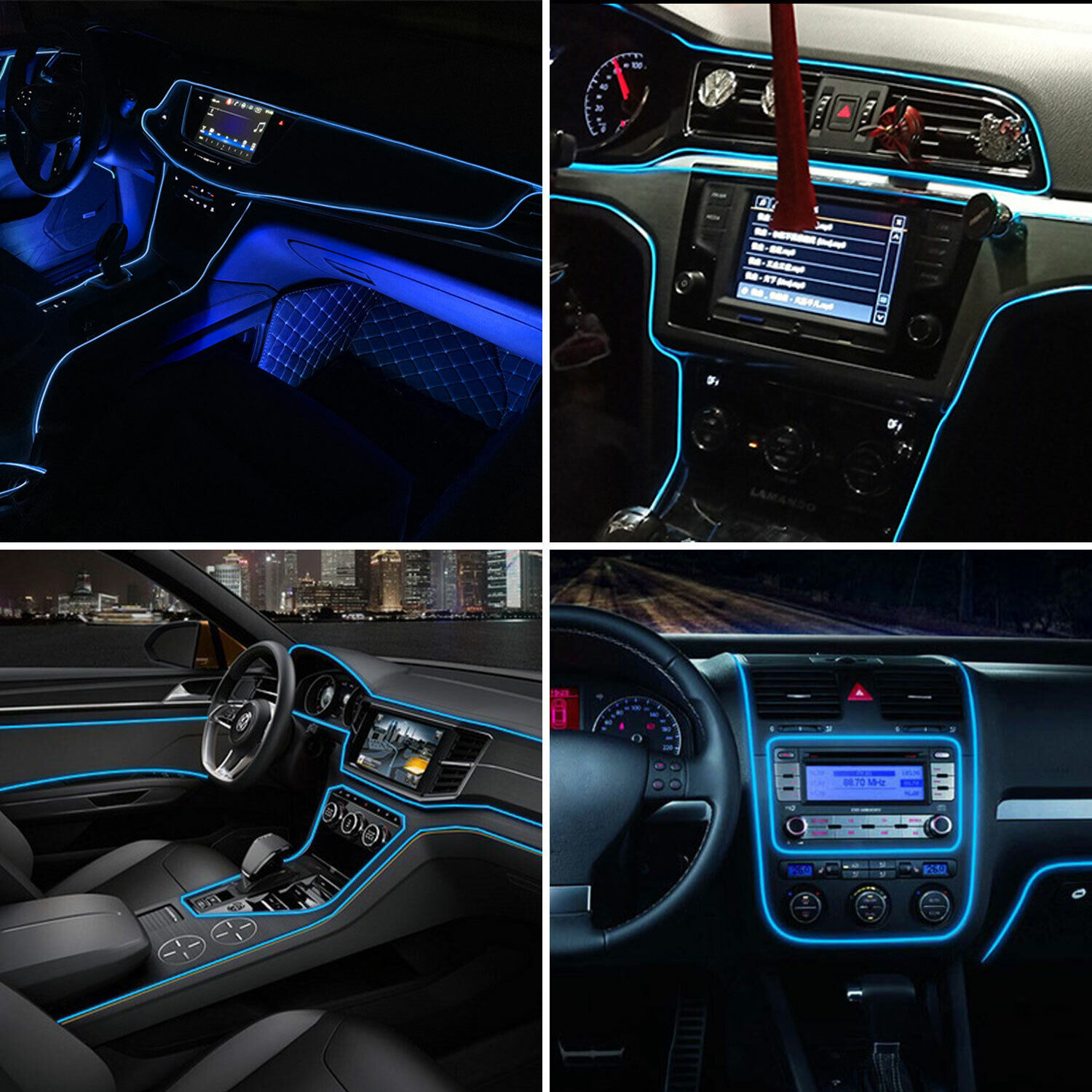 6.6FT Blue Car Interior Decor Wire Strip Light LED Atmosphere Lamp Accessories Car & Truck Parts