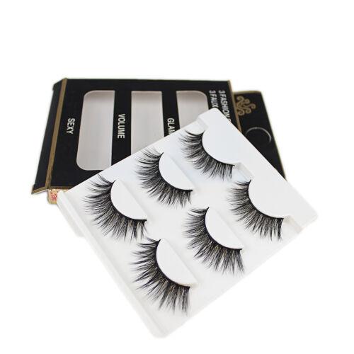100% Mink Hair Individual Eyelashes 3 Pairs 3D Long Natural False Eye Lashes