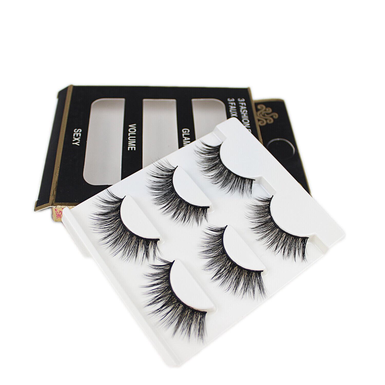 100% Mink Hair Individual Eyelashes 3 Pairs 3D Long Natural
