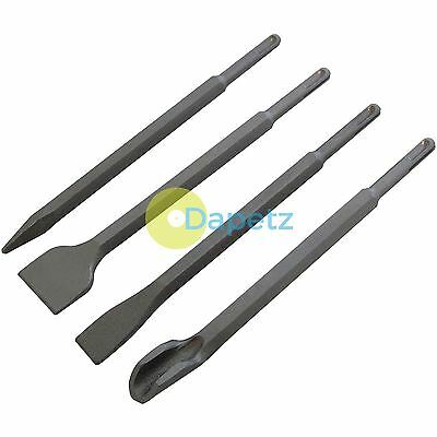 4pc Sds Plus Chisel Set Flat Point Groove Gouge Drill Hammer Drills