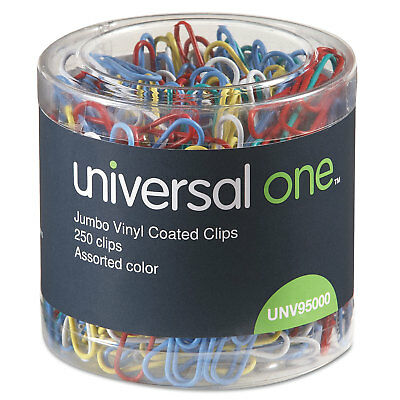 Universal Vinyl-Coated Wire Paper Clips Jumbo Assorted Colors 250/Pack 95000 (Jumbo Paper Clips)