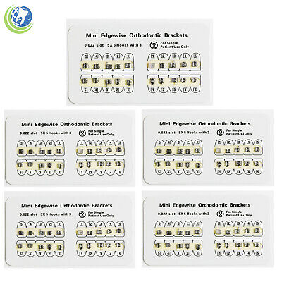 5 Pack Dental Orthodontics Mini Edgewise Brackets For Braces Slot 0.022 Hooks 3