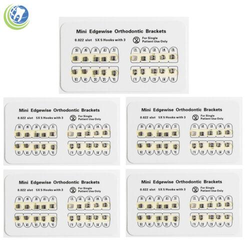 5 Pack Dental Orthodontics Mini Edgewise Brackets For Braces Slot 0.022 Hooks 3