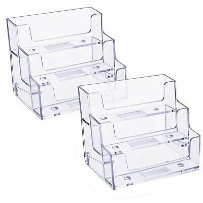3 Pockets Acrylic Business Card Holder Stand Clear Desktop Countertop Office ...