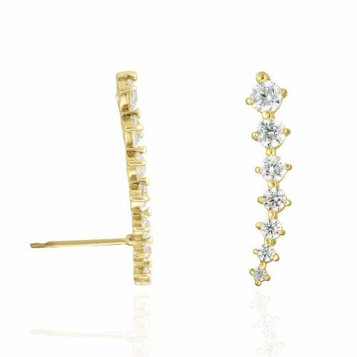 14K Yellow Gold 19mm Created Diamond Curved Climber Bar Push Back Stud Earring