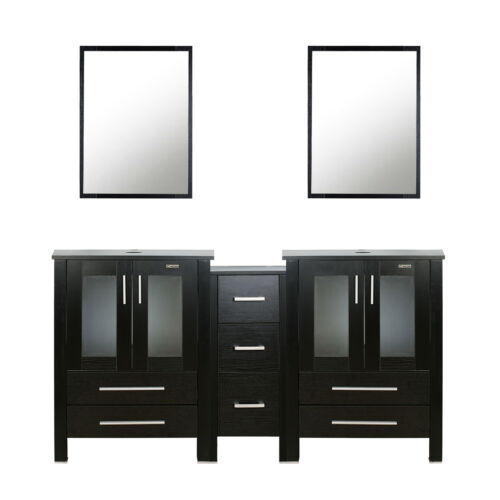 """60"""" Bathroom Black Vanity W/Small Double Cabinet Drawer Mirror Combo Modern Home"""