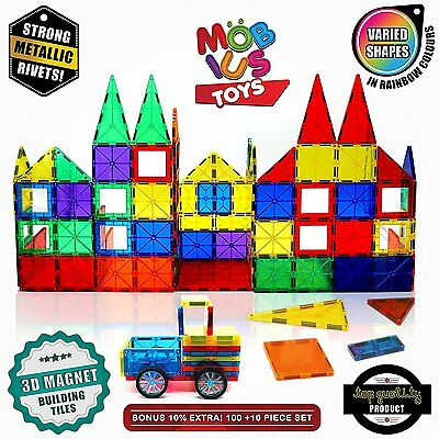 100 Piece 3D Magnetic Building Tiles Set Clear Colors STRONG Child Kids Toys NEW