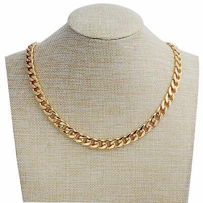 Gold Necklace for Men, Feel Real Solid 18k Gold Plated Curb Fake Chain (Fake Gold Chain)