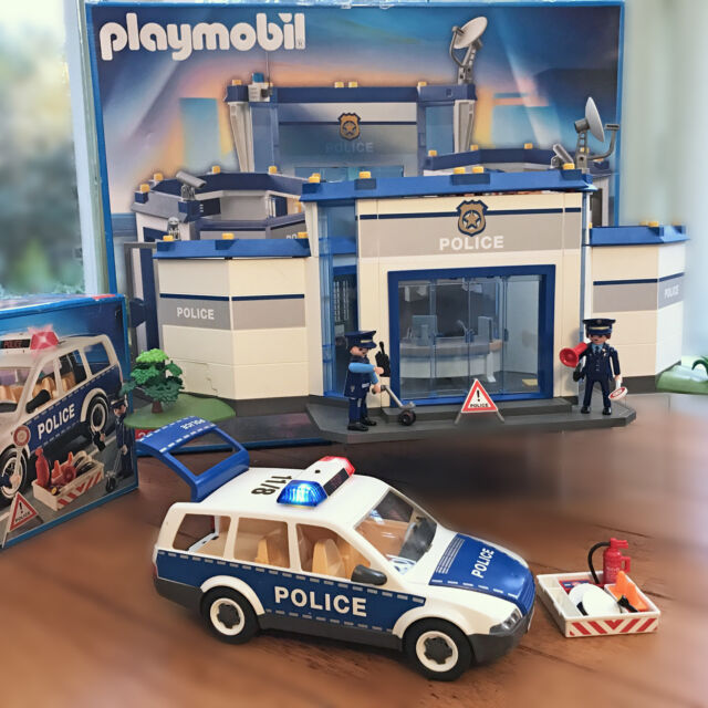 playmobil police station headquarters 4264 patrol car 4260 box birthday gift vgc - Playmobile Police