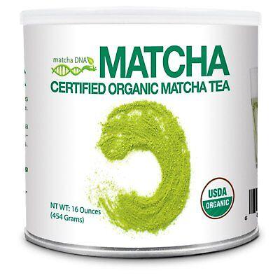 Matcha Tea Powder (MatchaDNA Certified Organic Matcha Green Tea Powder (16 oz TIN)